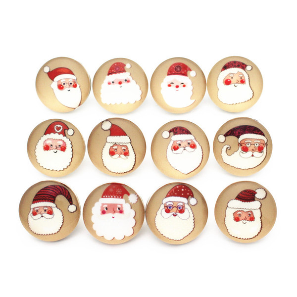 Noosa Christmas 18mm Snap Button Jewelry Santa Claus Charms DIY Ginger Snap Bracelet necklace Glass snap Jewelry
