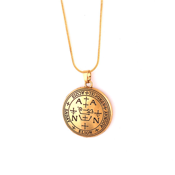 Special Design Unisex Charm Necklace Special Religious Pattern God Protector Archangel ZADKIEL Written Zinc Alloy Provide Dropshipping