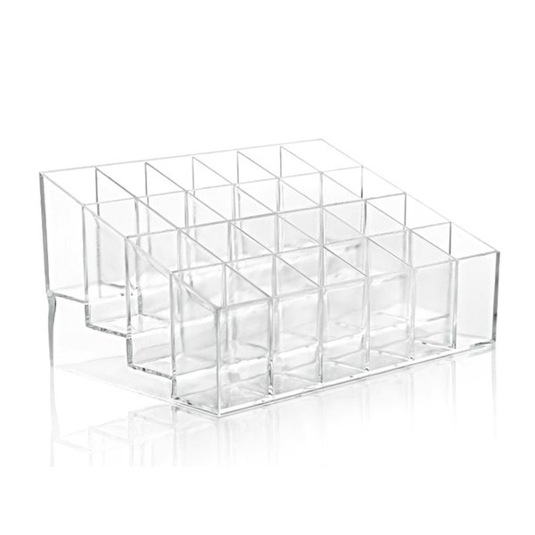 Hot Transparent Acrylic 24 Lipstick Display Stand Case Jewelry Box Makeup Organizer Tool Cosmetic Home Storage Holder