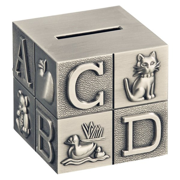 ABC Alphabet Block Piggy Bank for Baby Engraved Zinc Alloy Metal Saving Money Box Coin Bank Room Decoration Pewter Brush Finish