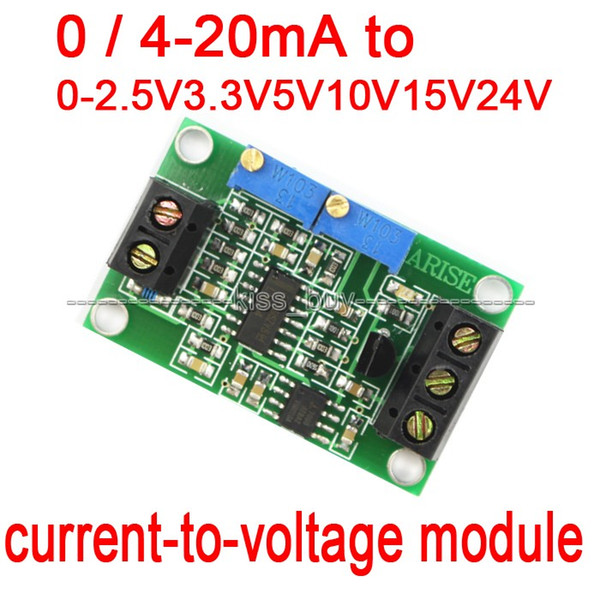 Freeshipping current to voltage module 0/4-20mA to 0-2.5V 3.3V 5V 10V1 5V 24V voltage transmitter Supply voltage: 7-30DC 12v 24v