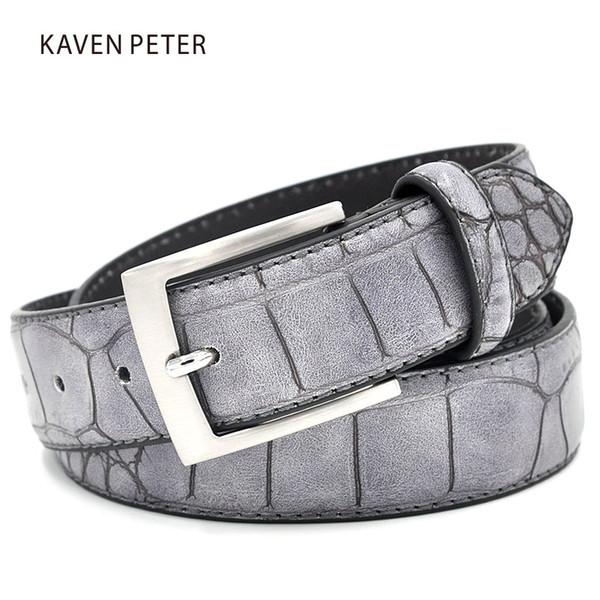 Mens Fashion Taille Gürtel Faux Krokoprägung Gürtel mit Spaltleder Luxus Krokoprägung Herren Designer Accessoires