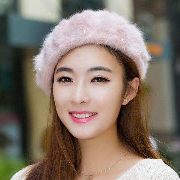 Wholesale-2018 Sale Limited Solid Adult Women Boinas Boina Feminina Hipster Joker Pearl Rabbit Fur Beret Multicolor Painter Hats