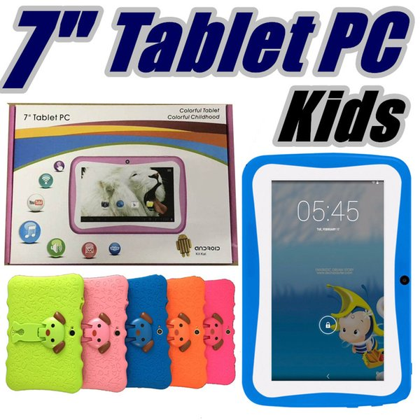 "2017 DHL Kids Brand Tablet PC 7"" Quad Core children tablet Android 4.4 Allwinner A33 google player wifi big speaker protective cover L-7PB"