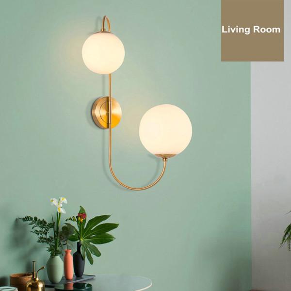 Modern Altın Bitmiş Duvar Işık Cam Topu Gölge Duvar Lambası başucu duvar aplik Ev Deco Aydınlatma E27 AC 110 V 220 V