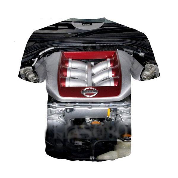 2018 New Harajuku Supercar Engine Power Heart t shirt 3D Print Hood mechanical t shirt/Hoodie/Sweatshirt Unisex Tees Tops 5XL