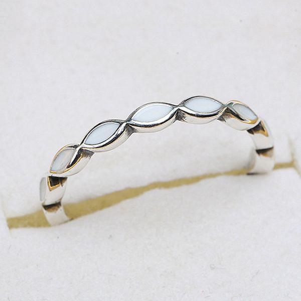 Auténtica plata esterlina Sier anillo mejor juntos apilable anillo con esmalte blanco para mujeres regalo de boda joyería fina
