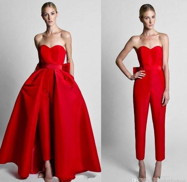 Yeni Varış Kırmızı Pantolon Gelinlik Modelleri 2018 Abendkleider Saten Basit Akşam Parti Törenlerinde Ayrılabilir Tren ile Zarif Resmi Elbiseler