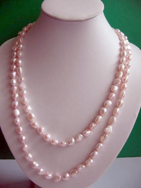 Natürliche Süßwasser Perlenkette 120cm lange Perle Schmuck rosa Farbe Barock Halskette