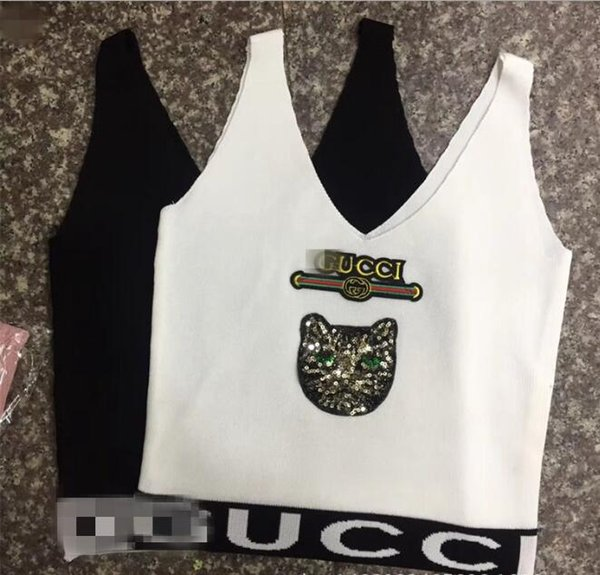 Summer G Letter Sequined Cat Waistcoat Multi Design V Neck Sexy Knitted Vest Autumn Wear Show Thin Bottom Top