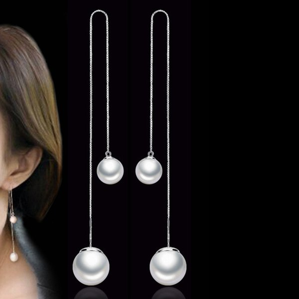 Simple Style Simulated Pearl Long Drop Earrings Vintage Fashion Jewelry Dangle Earring Valentine's Day Gift WHE16