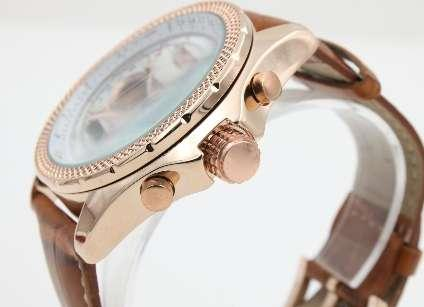 high quality man Automatic Mechanical 1884 Watch brown laether white red needle dial Gold case watch