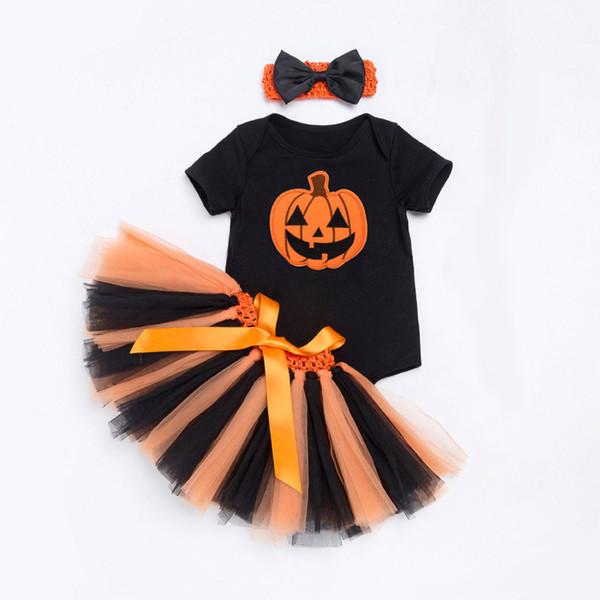 Baby Girl bodysuit set Short Sleeve romper tops princess Tutu Skirt crown Headband 3PCS Outfit baby Halloween suits Set