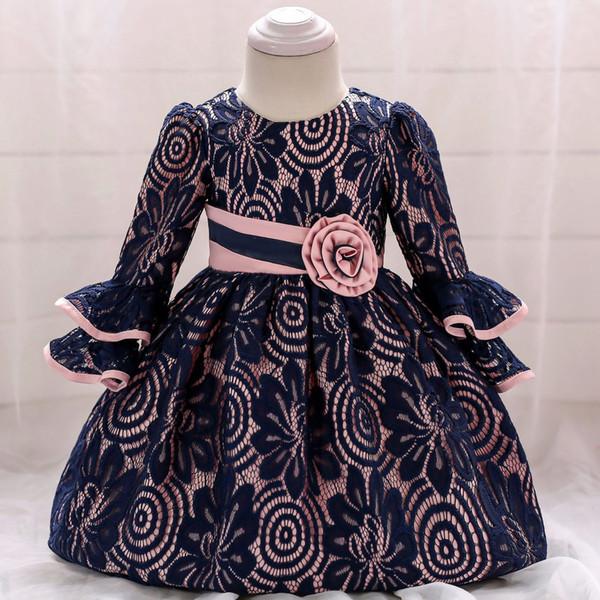 Primavera e Outono do bebê anos velho vestido de renda a céu aberto flores lua cheia posando vestido de vinho trompete sete-manga vestido de princesa