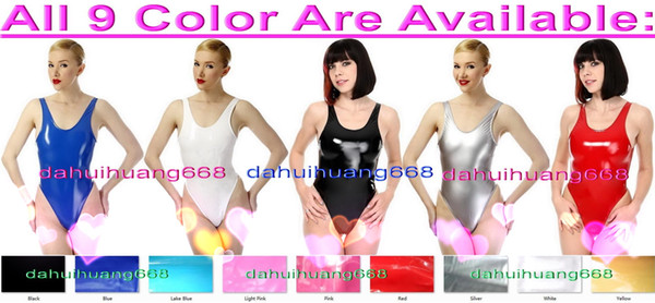 Sexy Women Short PVC Body Suit Costumes Sexy 9 Color Shiny PVC Short Suit Catsuit Costumes Halloween Party Fancy Dress Cosplay Costume DH222