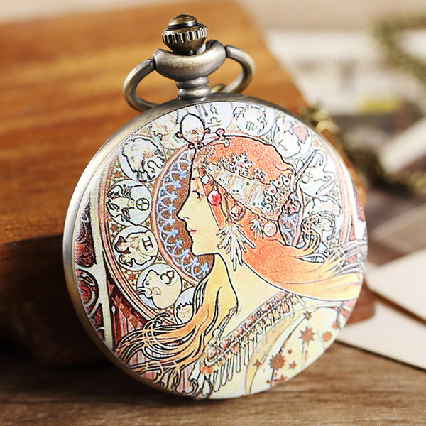 1 Pcs Relogio De Bolso Colorful Painted Women Quartz Fob Chain Pocket Watch For Women Man