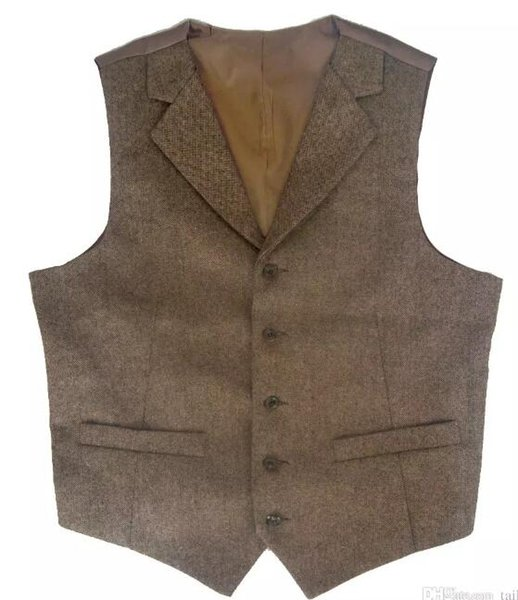 2018 Brown tweed Vests Notch Lapel British style custom made Mens suit tailor slim fit Blazer wedding suits for men plus size