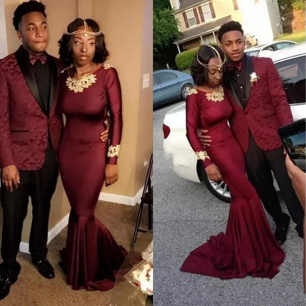 2018 Hot Sale Burgundy Mermaid Evening Dresses Wear Jewel Neck Long Sleeves Gold Lace Appliques Custom Sheath Prom Party Gowns Vestidos
