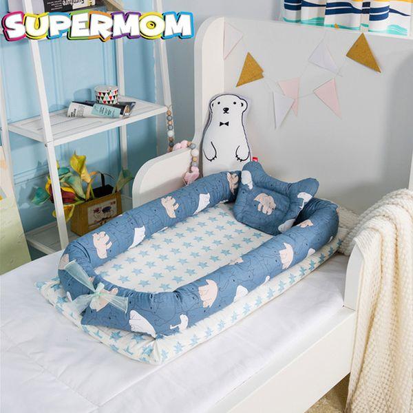 finest selection 30280 e4f11 Baby Nursery Bed Newborn Crib Foladable Sleeping Basket Children Bed Nest  Kid Travel Crib With Bumper Cot Mattress Baby Cradle Cherry Wood Crib Set  ...