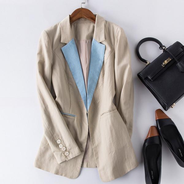 New Fashion Women Solid Cotton linen Blazer Females Casual Suit Womens Single Button Slim Jacket Female Top Coat Cape Ladies
