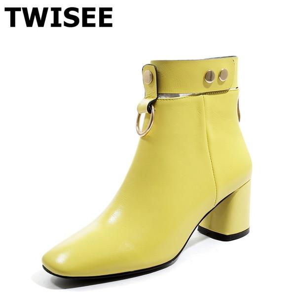 MulheresMulheres de bezerro botas de venda quente outono quente Bombas dedo do pé quadrado mulher sapatos casuais conforto casco saltos decoração de metal