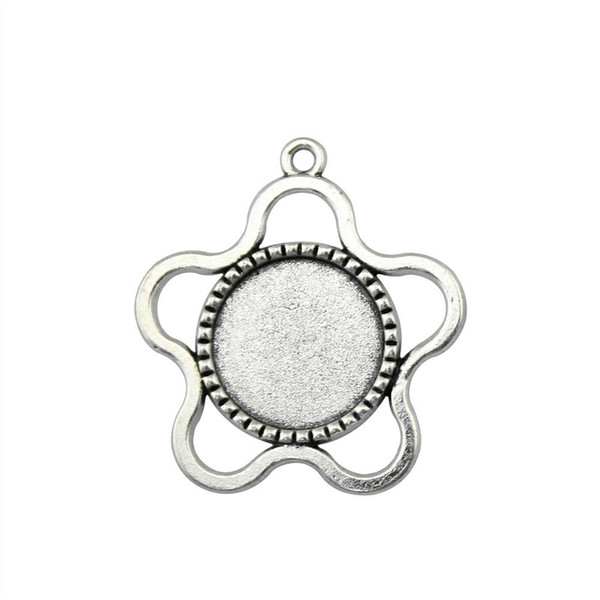 15 Pieces Cabochon Cameo Base Tray Bezel Blank Jewelry Findings Components Five Leaves Grass Flower Inner Size 18mm Round Pendant Setting