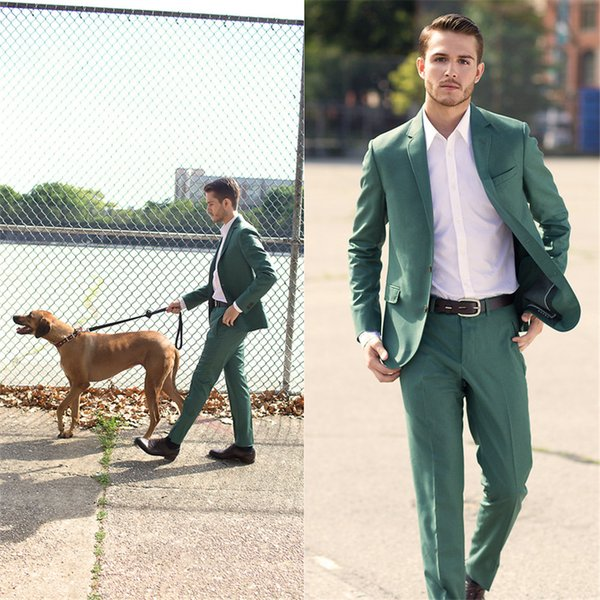 2018 Summer Custom Made Green Mens Suit Dress Best Terno Slim Fit Wedding Terno Masculino Blazer 2pieces (Coat+Pants+Tie)