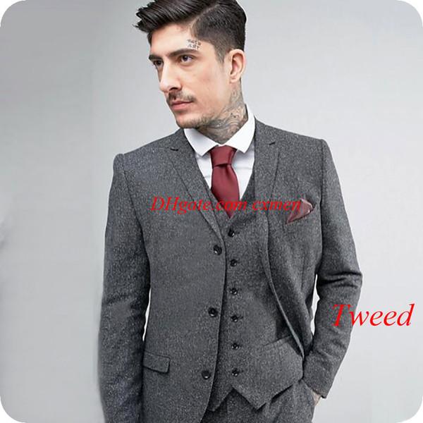 Winter Custom Made Grey Harringbone Tweed Men Suits Wool Two Buttons Slim Fit Groom Wear Male Blazer Smoking Jacket 3Pieces Costume Homme