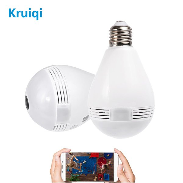 Kruiqi 1080P VR Panoramic Bulb Light LED IP Camera With 360 Degree Fisheye Wireless Wifi Camera For Home Security System