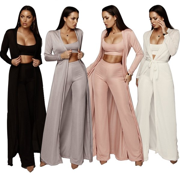 Printemps Mode Casual 3 Piece Set Lady Spaghetti Strap Crop Top + Long Pantalon Ceinture Jambes Larges + Full Slevee Maxi Cardigan 4 Clolor
