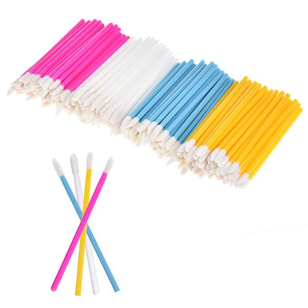 50Pcs/Pack Disposable Lip Brush Kit Flurry Head Eyelash Brush Cosmetics Make Up Tools Lipstick Gloss Wands Applicator 4Colors D18111302