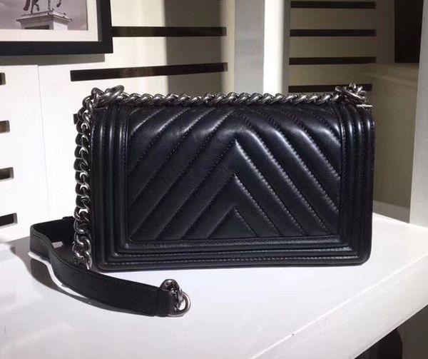 Fashion Designer 25CM Black Lambskin V Quilted Boy Flap Bag 67086 Chevron Boy Chain Shoulder Bag Women Brand Handbags Silver Hardware