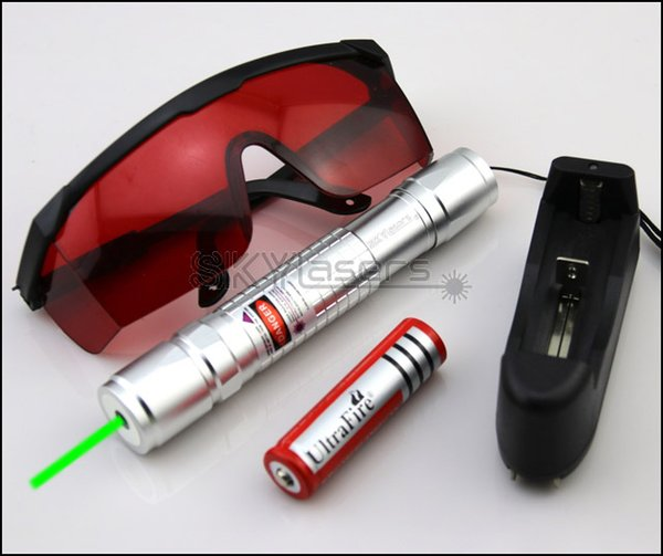 GX2 532nm Adjustable Focus Silver Green Laser Pointer With Batteries& Charger&Goggles