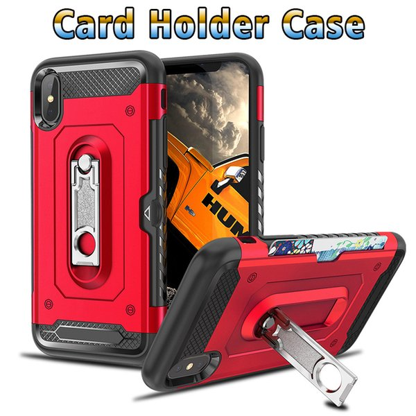 Phone case For iphone 6s 7 8 x Card Holder Case TPU PC 2in1 Metal stent Cell phone case cover