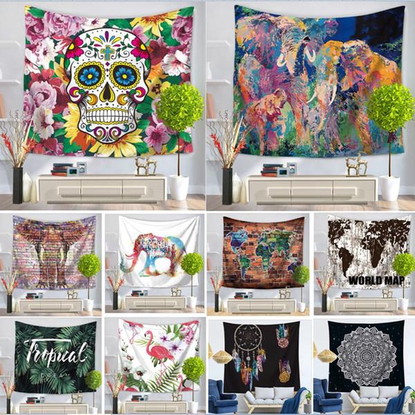 178 Couleurs Carte Flamingo Mandala Bouddha Horus Sucre Crâne Polyester Tapisserie Fresque Yoga Plage Couverture Serviette Décoration de La Maison