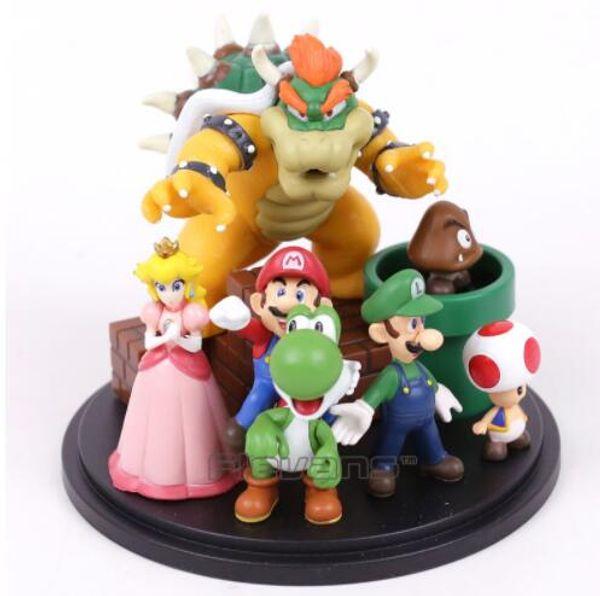 Super Mario Bros Bowser Princess Peach Yoshi Luigi Toad Goomba PVC Action Figure Toy Model Free Shipping