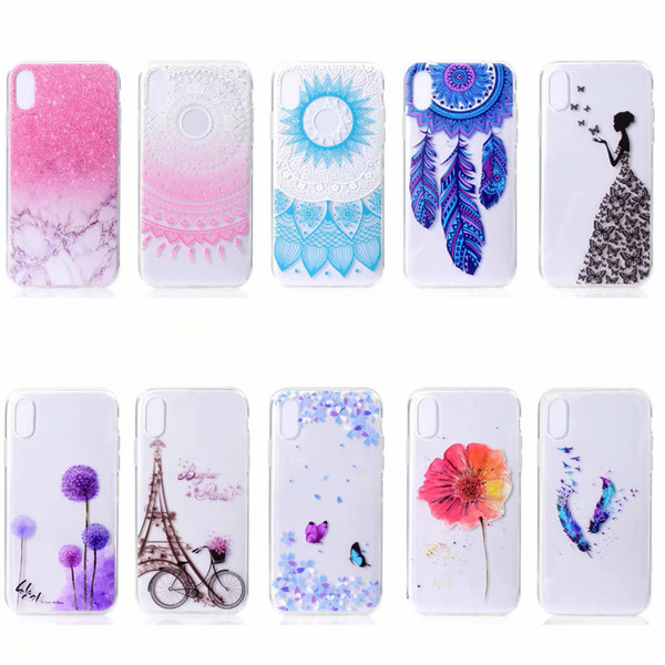 Soft TPU Case For Iphone 11 2019 XR XS MAX X 8 7 5S Note 10 Pro 9 A80 M40 Flower Butterfly Marble Tower Henna Dandelion Dreamcatcher Cover