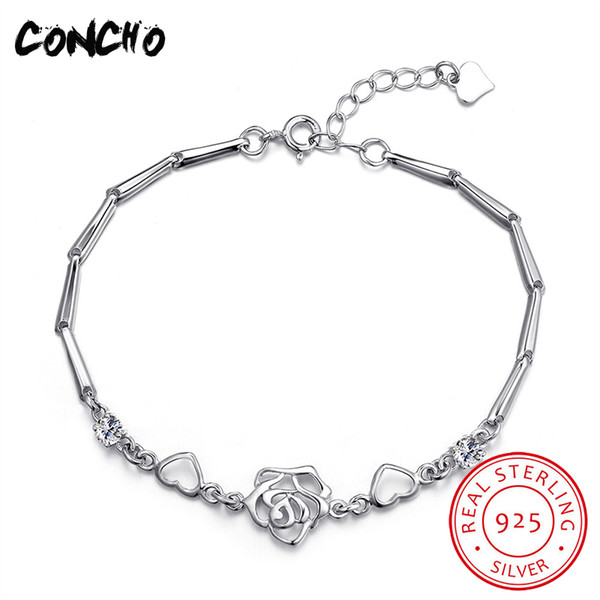 Concho Jewelry 925 Sterling Silver Flowers Zircon Bracelet For Women Anniversary Best Gifts 2018 New Fashion Women Bracelet