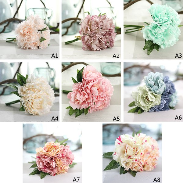 5 Heads Artificial Flower Hydrangea Peony Bridal Bouquet Silk Flower For DIY Home Party Decor with Green leaf Natural Lifelike