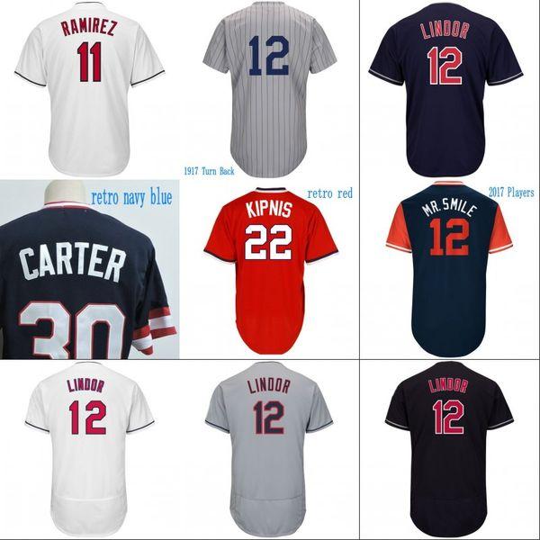 #13 Omar Vizque Jersey Cleveland Mens 7 Yan Gomes 11 Jose Ramirez 12 FranciscoLindor 53 Greg Allen 55 Roberto Perez Baseball Jerseys