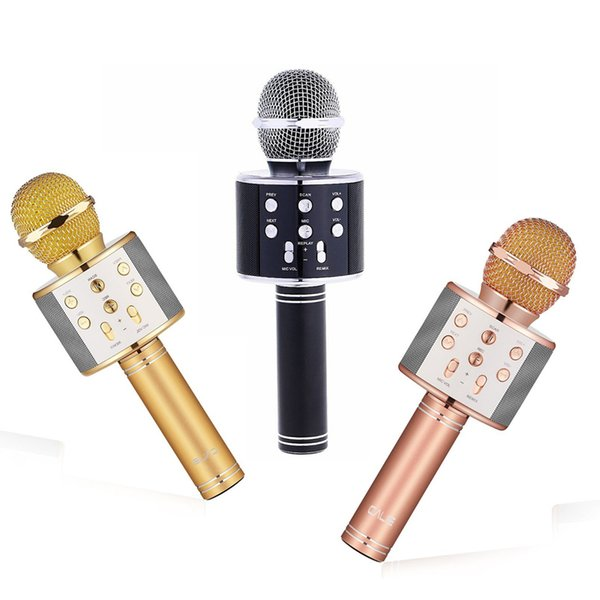 2018 WS858 Bluetooth wireless Microphone HIFI Speaker Condenser Magic Karaoke Player MIC Speaker Record Music For Iphone Android Tablets PC