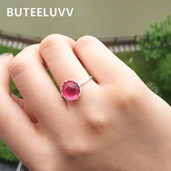 BUTEELUVV Elegante anello a maglie in cristallo verde rosso per le donne minimalista Sier colore geometrico metallo Knuckle Ring gioielli di moda