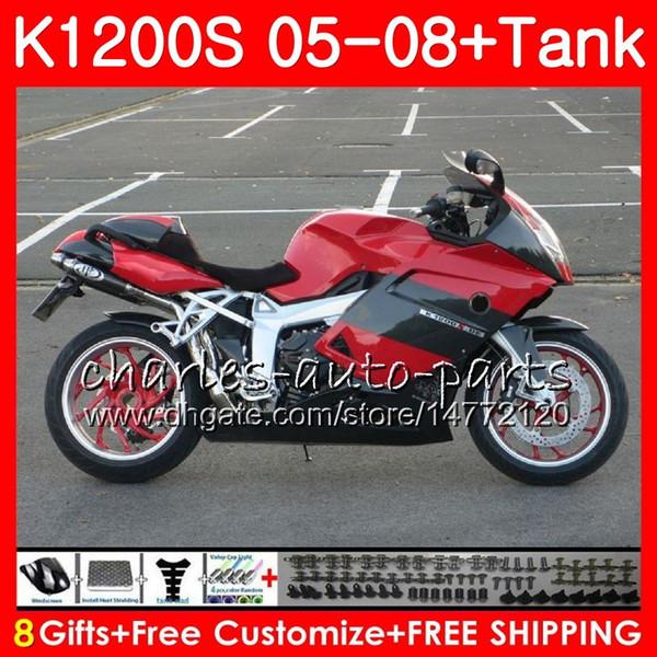 Body For BMW K1200 S K 1200 S 05 10 K1200S 05 06 07 08 09 10 103HM.6 K-1200S K 1200S red black 2005 2006 2007 2008 2009 2010 Fairing kit
