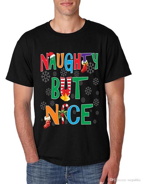 Order Custom T Shirts Crew Neck Men Men's T Shirt Naughty But Nice Humor Xmas Shirt Cute Holiday Gift Print Short Tee