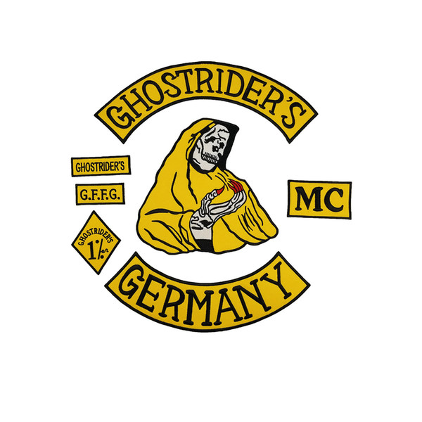 Hot Sale GHOSTRIDER'S GERMANY MC EMBROIDERY PATCH MC Embroidered Full Back Large Pattern For Rocker Club Biker MC Patch Free Shipping