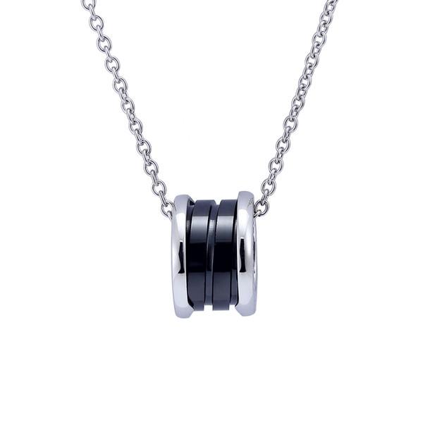 Argent Goldl printemps pendentifs collier Titane stesl Blanc Noir En Céramique anneau circulaire pendentif Collier Pour Les Femmes De Mode Bijoux Partie Cadeau
