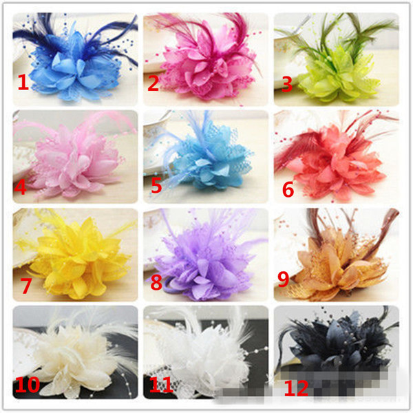 top popular 2018 Hot Sale 12 Colors Wedding Bridal Hairflowers DIY Pearls Feather Boutonnieres In Stock Bridesmaid Wrist Flowers Free Shipping 2021