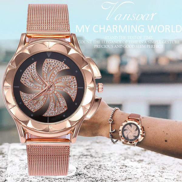 Fashion Women Rose Gold Colorful Dial Windmills Wrist Watch  Casual Quartz Watch  Drop Shipping