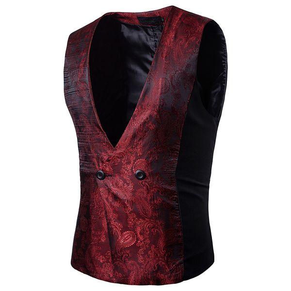 New Arrival Men Vest Palance Dark Grain Design Solid Sleeveless Waistcoat Slim Fit Print Host Formal Dress Hairstylist Vest
