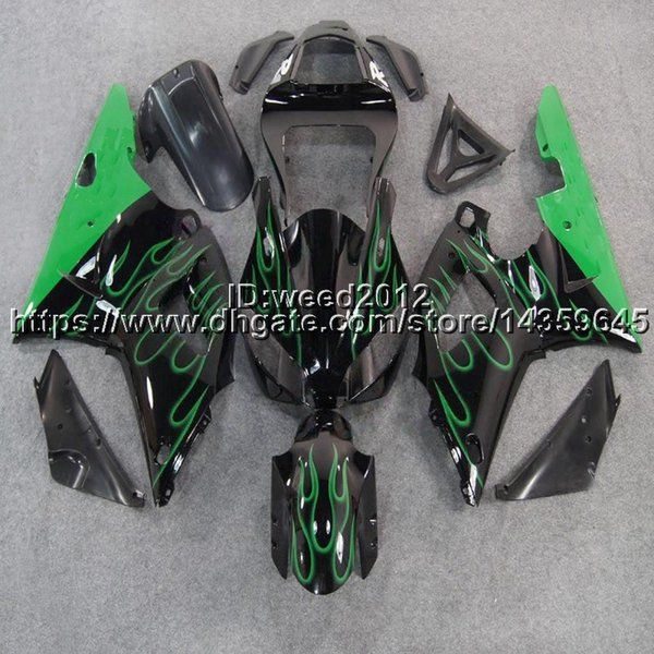 Custom-color+5Gifts green flames motorcycle body kit for Yamaha YZF-R1 00 01 YZF R1 2000 2001 ABS Plastic Fairings